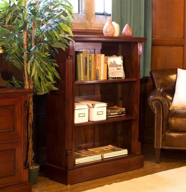 La Roque Low Bookcase | Mahogany Bookcase | Fixed Shelf Open Bookcase